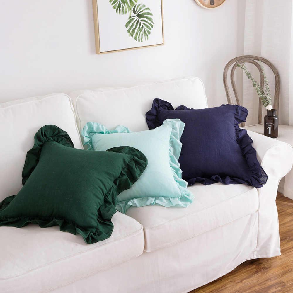 Katun Linen Ruffle Bantal Cover Warna Solid Ruffle Lembut Bantal Penutup Sofa Kursi Mobil Dekorasi Ruang Tamu 45*45 CM
