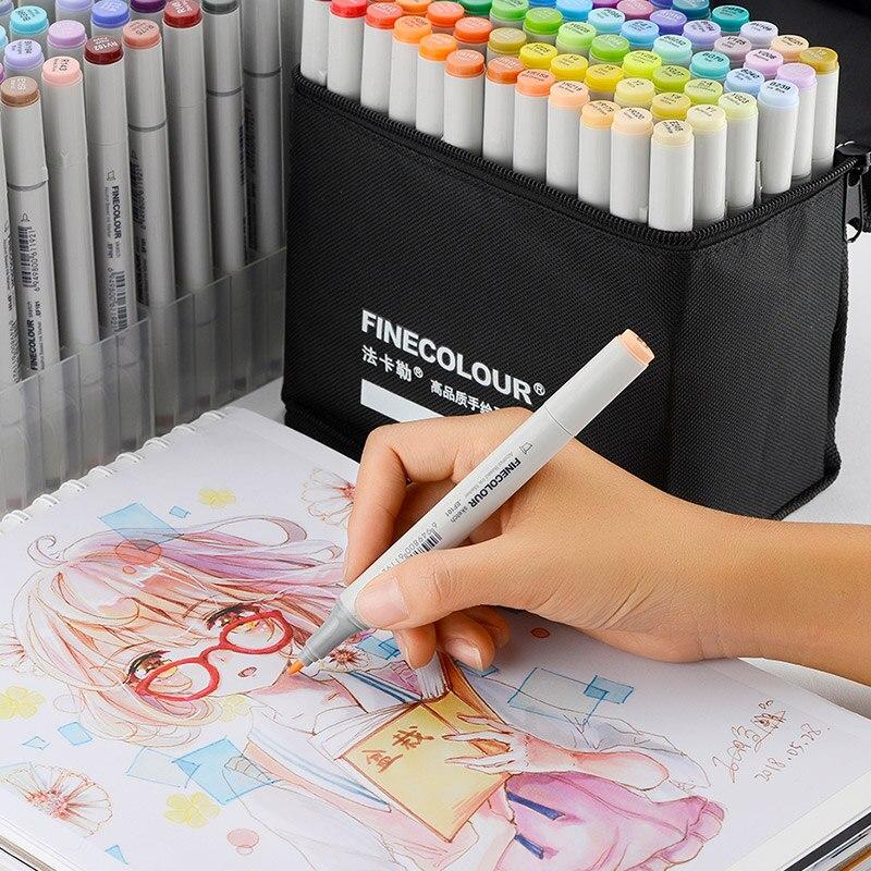 FINECOLOUR génération 36/48/60/72 marqueur de croquis à Double tête d'artiste Set marqueurs d'art Manga à base d'alcool pour fournitures de conception