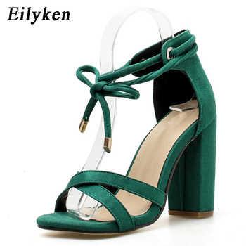 Eilyken Women Sandals Summer Lace-Up Fashion High Heels Peep Toe Shoes Female Square Heel Ladies Sandals Green, Black Size 35-40
