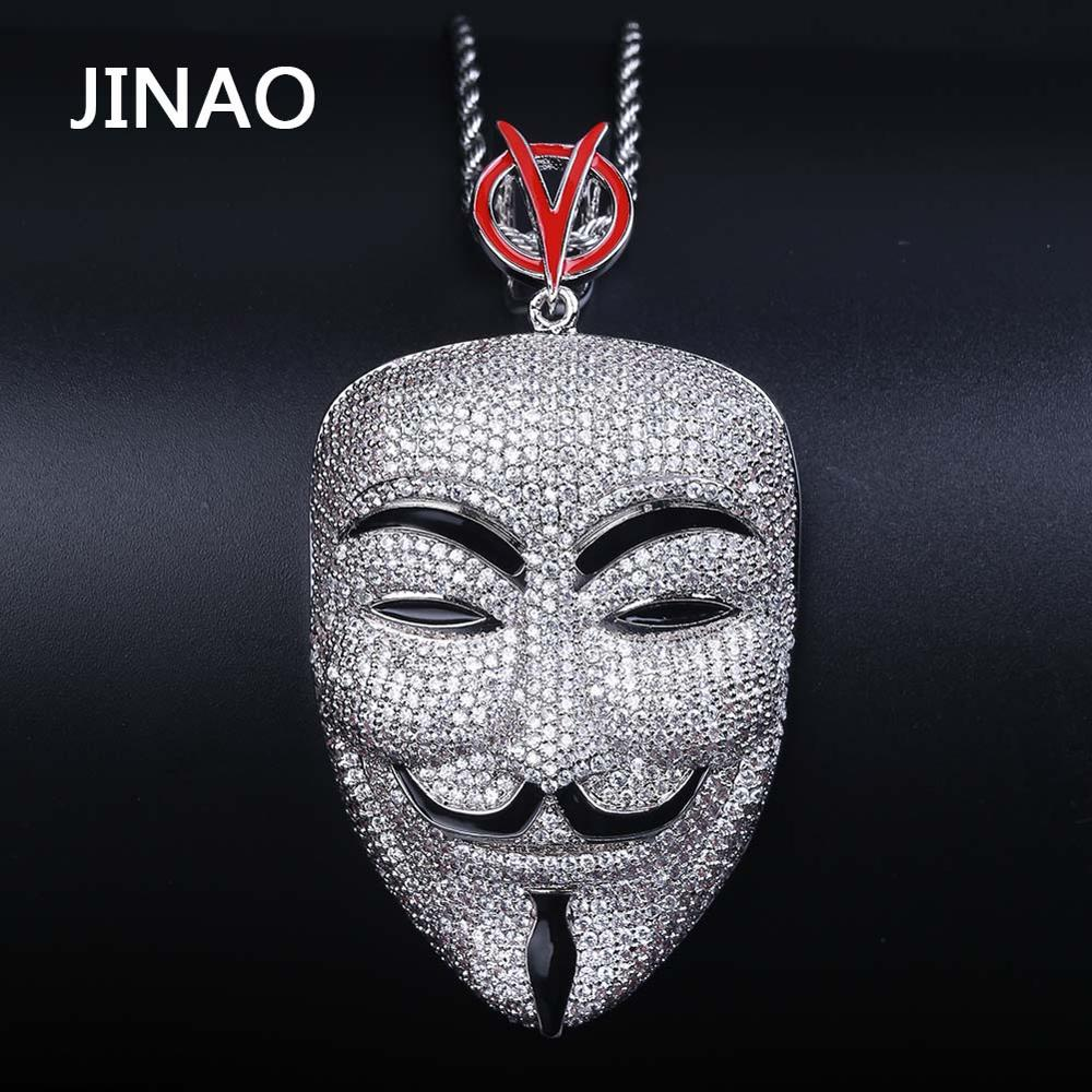 JINAO New Ice out V Mask pendant hip hop Jewellery V for Vendetta Fashion CZ Stone Necklace For Man Women Gift