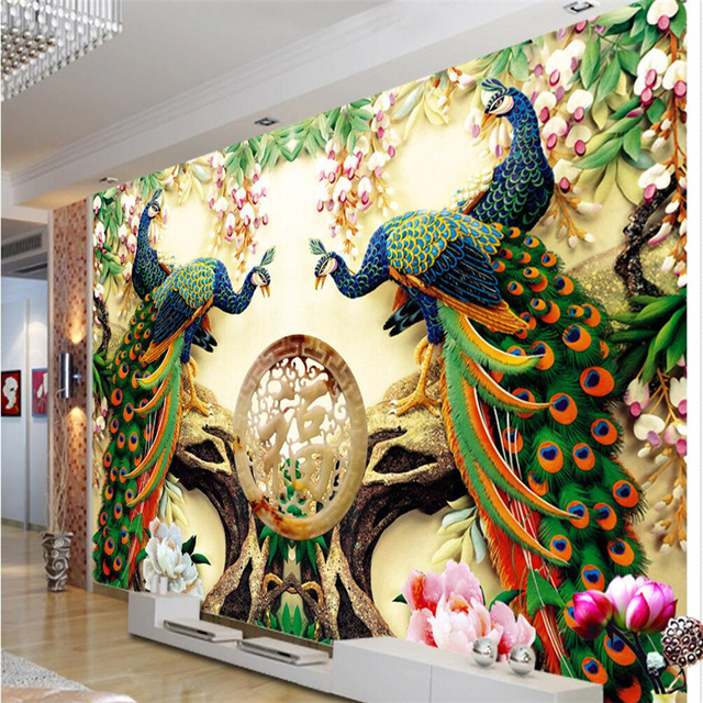Feature Wall Wallpaper 3d Beibehang Home Decor Peacock Green Branches Mural De Pared