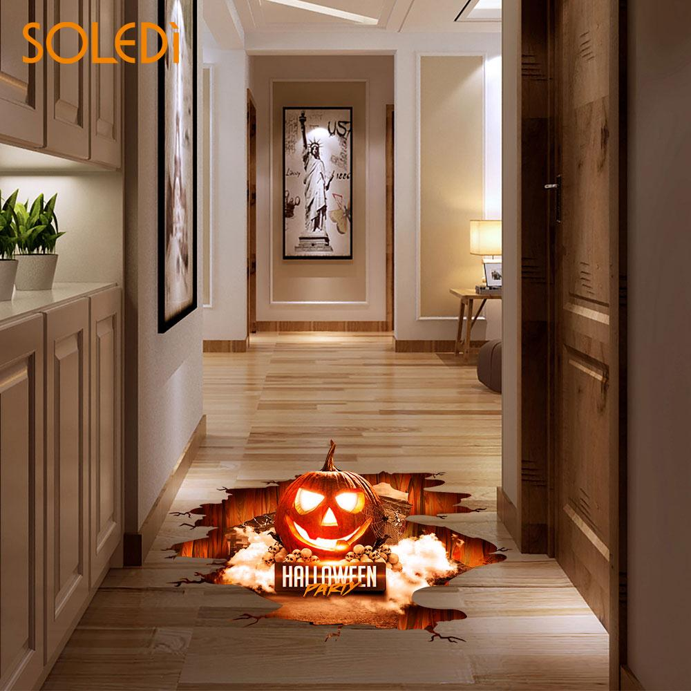 Wall Floor Stickers Decoration Ghost Horror Bat Spider Pumpkin Wallpaper Waterproof Removable Home Decor In Party Diy Decorations From