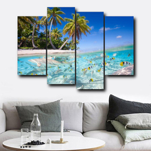 Laeacco Tropical Palm Tree Wall Art Posters and Prints 4 Panel Canvas Calligraphy Painting Nordic Home Living Room Decor