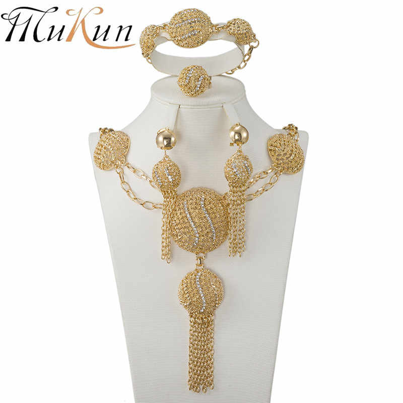 MUKUN wholesale African Beads crystal jewelry set Fashion wedding of women Dubai jewelry sets Gold-color necklace  Earrings Set