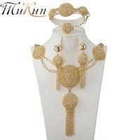 MUKUN Wholesale African Beads Crystal Jewelry Set Fashion Wedding Of Women Dubai Jewelry Sets Gold Color