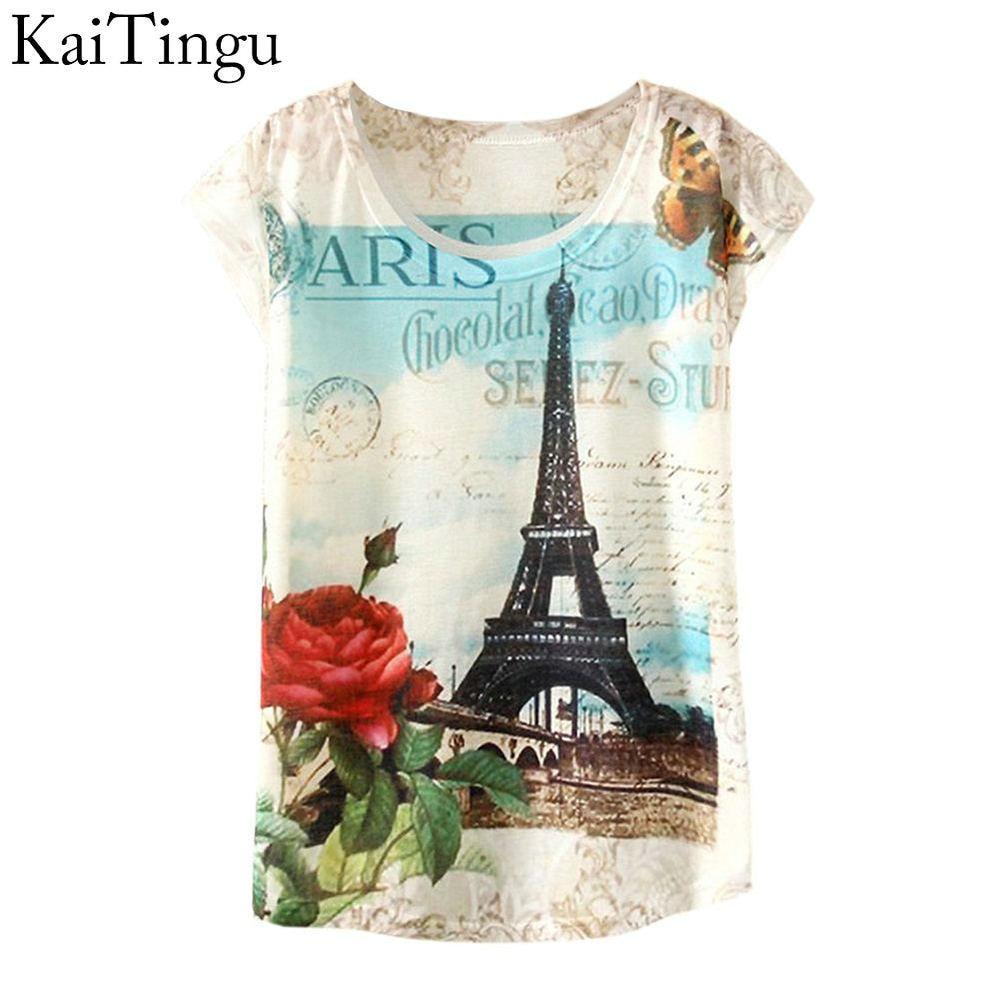 KaiTingu 2017 Brand New Fashion Spring Summer Harajuku Women T Shirt Tops Cute Eiffel Tower Print T-shirt For Women Ladies