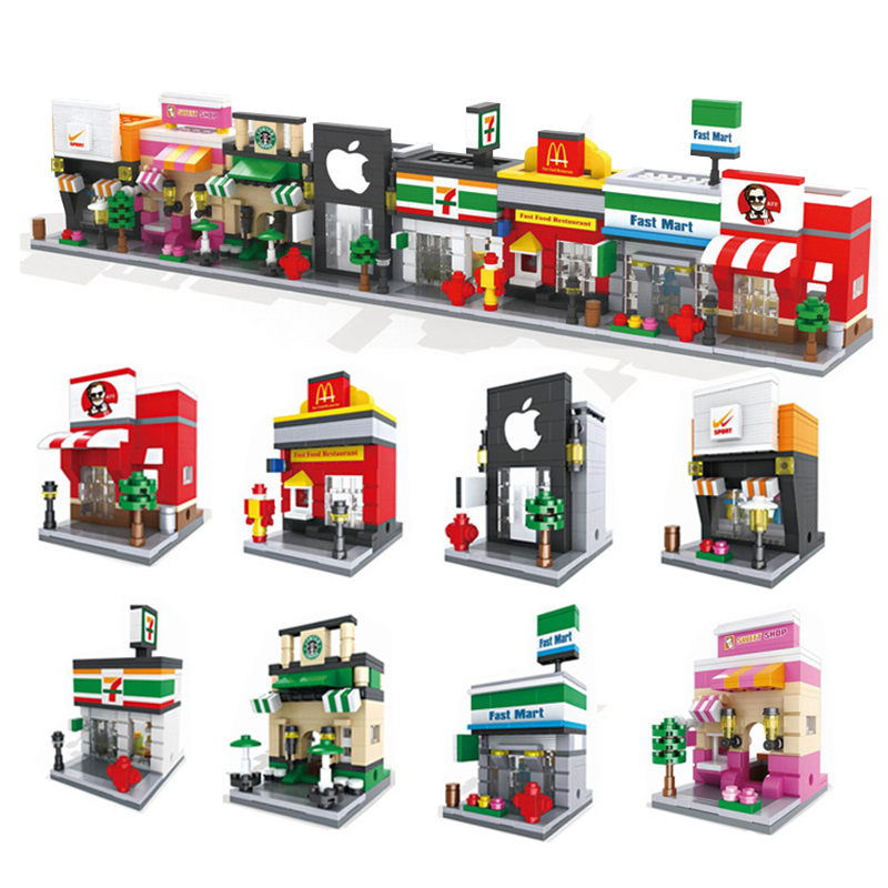 HSANHE City Architecture Street Scenery DIY Model Building Blocks Set Brick Lepin Educational Toys Gifts For Children superwit 72pcs big size city diy creative building blocks brick compatible with duplo sets lepin educational toys children gifts