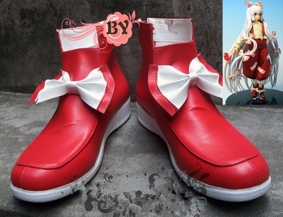 Touhou Project Fujiwara no Mokou Cosplay Shoes Red Boots Custom-made