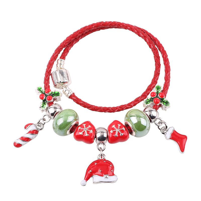 Couqcy Christmas Hat Christmas Stockings Candy Cane Snowflake Beads DIY Suitable for Women Bracelet Jewelry Charm bead