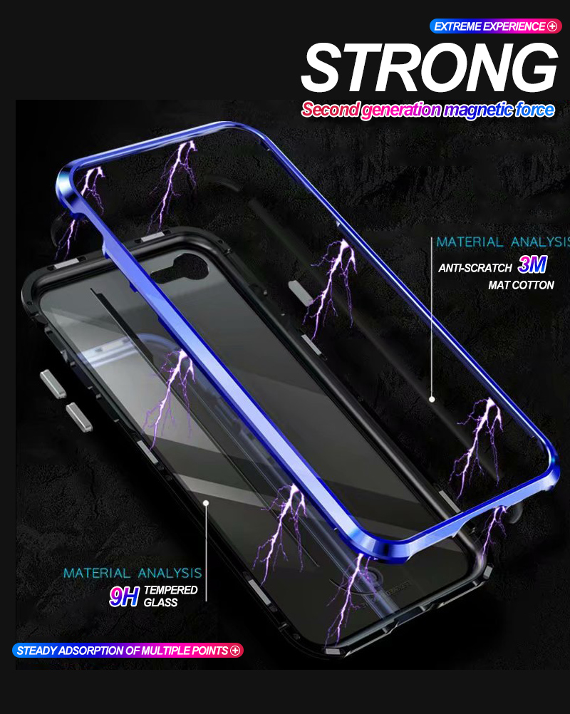 iPhone X 8 Plus 7 6 6s Plus Luxury Metal Magnet Bumper Phone Tempered Glass Back Adsorption Flip Cover