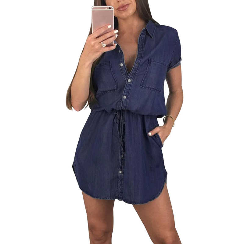Модное женское джинсовое платье с отложным воротником, с коротким рукавом, женское платье, осень 2019, на пуговицах, на талии, мини-платье-рубашка, Ropa