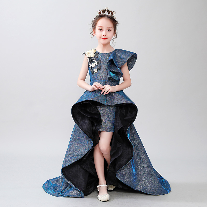 Luxury Princess Dress Long Trailing Flower Girl Dresses for Wedding Lace Up Embroidery Girls Formal Dress Birthday Costume B445