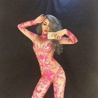 Pink Glisten Rhinestones Sexy Jumpsuit Women's Leggings Crystals Birthday Female Singer Show Bodysuit Nightclub Stage Dance Wear