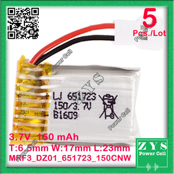 5pcs/lot 3.7V 150mAh 20C Lipo Battery Model 651723 + X5 Charger For FPV RC Molex 51005 RC Quadcopter Drone Dron Size:6.5x17x23mm