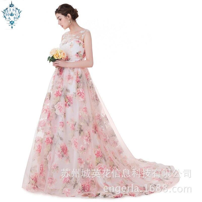 Ameision longues robes De soirée avec Appliques De dentelle imprimé Floral formelle Robe De bal pour les femmes vraie Photo Robe De soirée