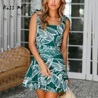 Moda Dziewczyna Letnia Sukienka 2018 Bawełna Vestidos Kobiety Sexy Pasek Casual Beach Dress Women Slim Floral Print Dress Wzór Liścia