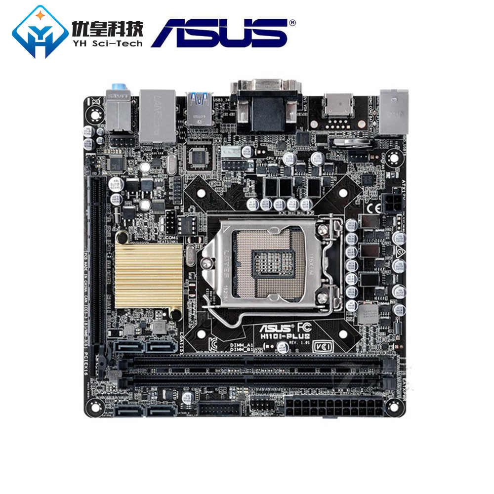 Asus H110I-PLUS إنتل H110 الأصلية المستخدمة سطح اللوحة LGA 1151 الأساسية i7/i5/i3/بنتيوم/سيليرون DDR4 32G البسيطة-ITX