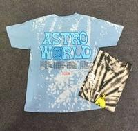 2019 Tie dyeing Travis Scott Astroworld Tour Astronaut Tee T shirt Hip Hop Men Women 1:1 Best quality Short sleeve Mens t shirts