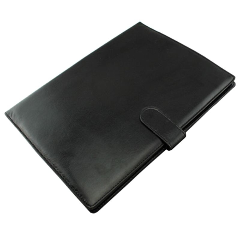 A4 Zipped Conference Folder Business Faux Leather Document Organiser Portfolio Black