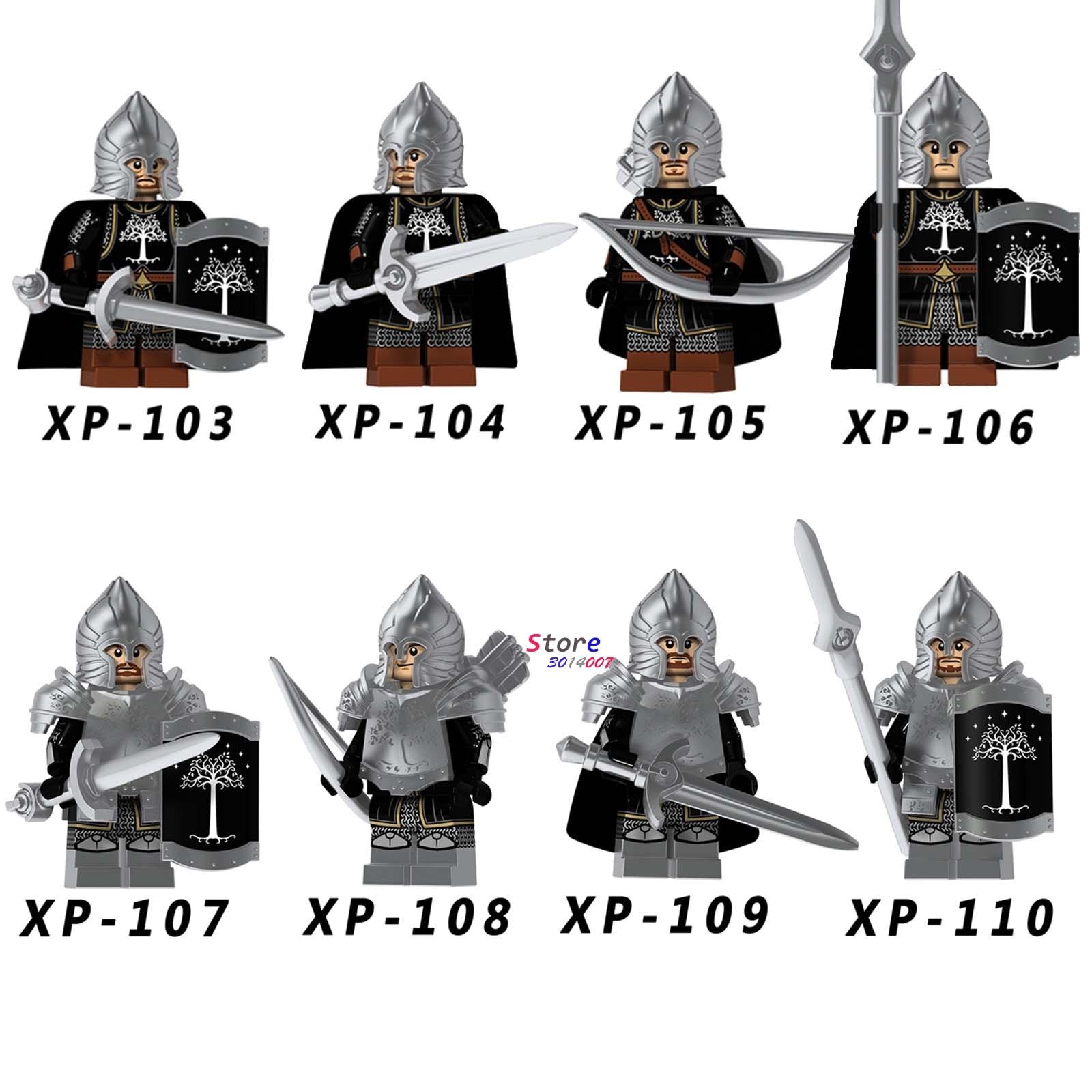 Single Medieval Knight Lord Of The Rings   Of Gondor Spear Archer Sword Model Building Blocks  Bricks Toys