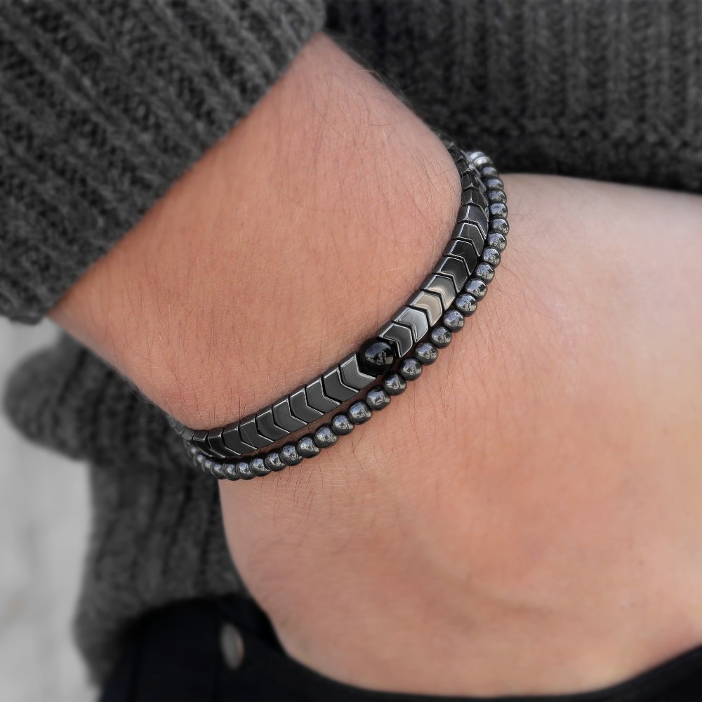 Charm Bracelets Bracelets & Bangles Morooki Mens Set Hematite Bracelets European Weaving Mens Brading Macrame Bangle Punk Hiphop Cool Men Pulseira Masculina Delaying Senility