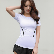 цена на Women Quick Dry Summer Yoga Tops Short Sleeve Sports T Shirts Gym Breathable Running Fitness Tank Tops Workout Shirts Tights