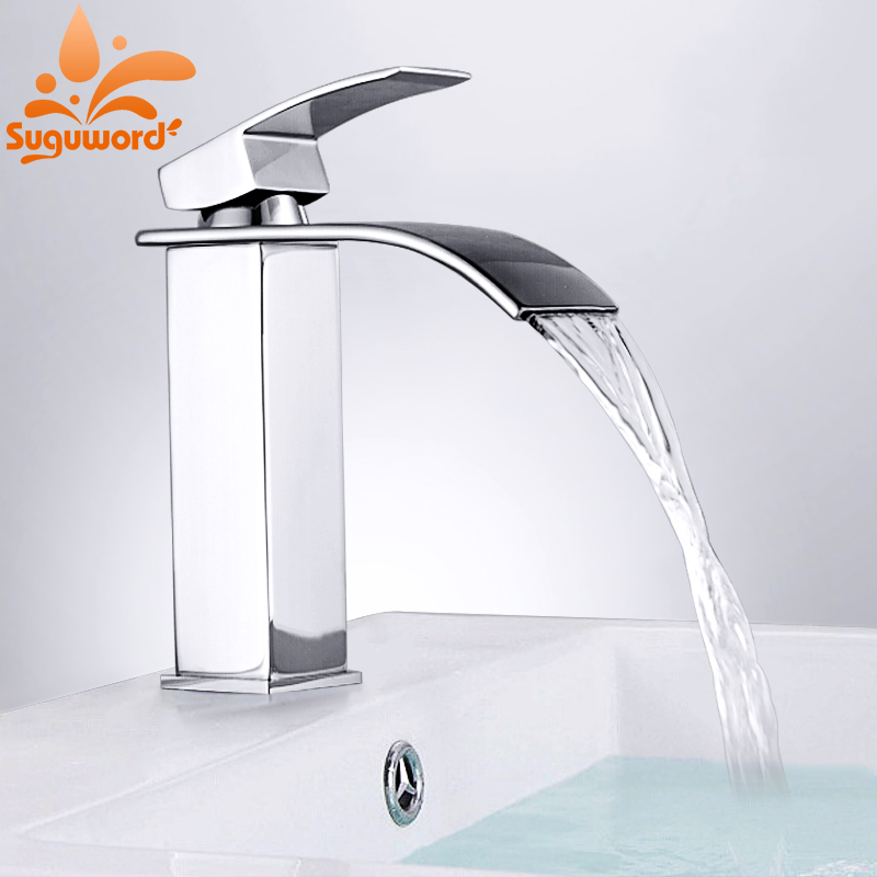 Suguword Bathroom Basin Faucets Deck Mounted Faucet Chrome Hot Cold Water Sink Tap Single Handle Taps Bathrom Torneira