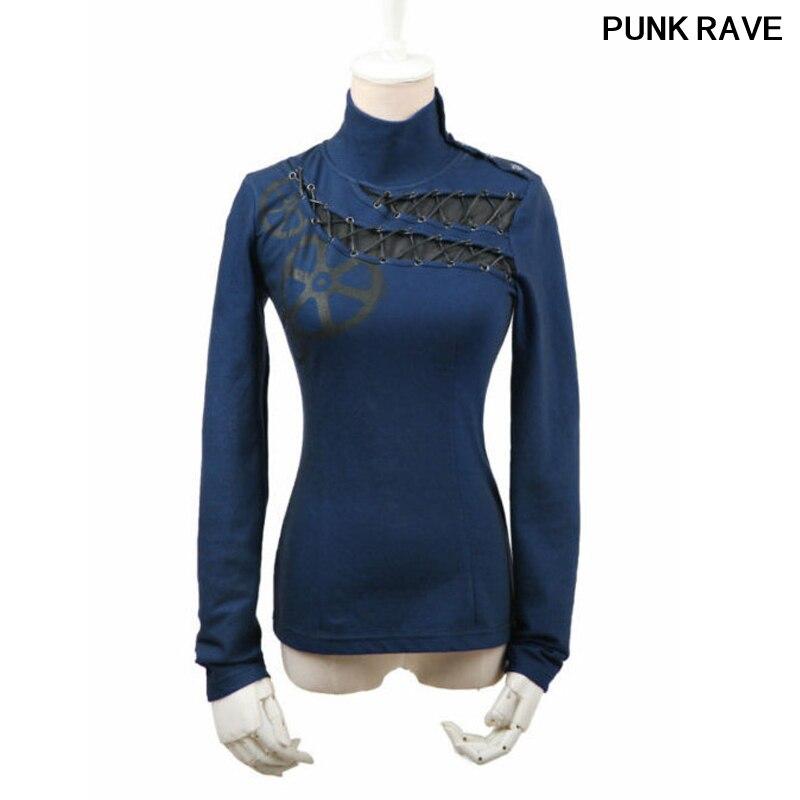 Mode joli rouge café bleu couleurs boutons nouveauté femmes T-shirt gothique punk harajuku bandage haut T-shirt Punk rave T-362