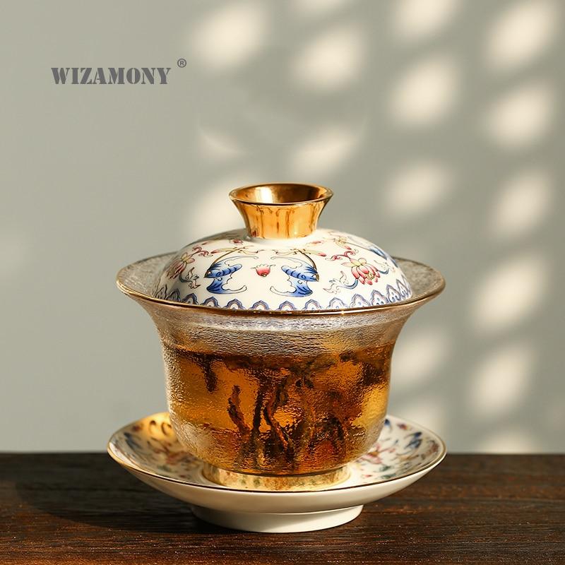1PCS WIZAMONY Chinese Kung Fu Tea set gaiwan teapot teacups fair mug tea sets Color Enamel