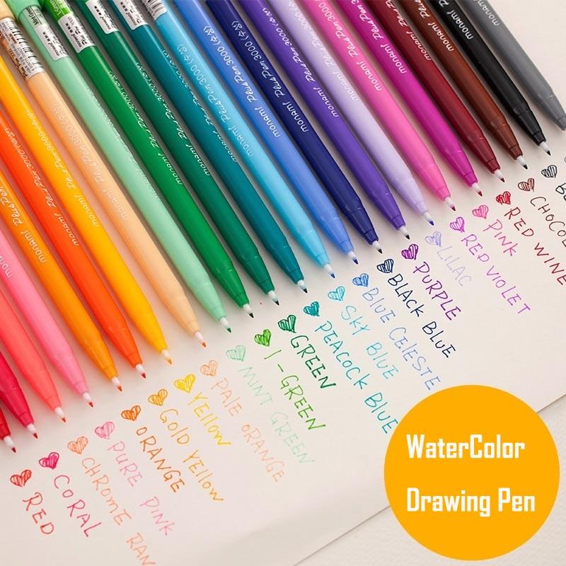Us 9 97 20 Off 12 24 Color Set Felt Tip Water Based Ink Color Art Marker Set For Drawing Coloring Journaling Lettering Fineliner 0 4mm Line Pen In