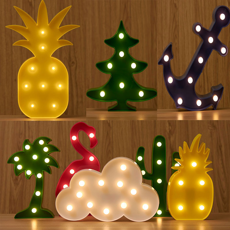 SLTMAKS Night Light 3D Lamp Novelty Luminaria Flamingo Cactus Pineapple Coconut Tree Nig ...
