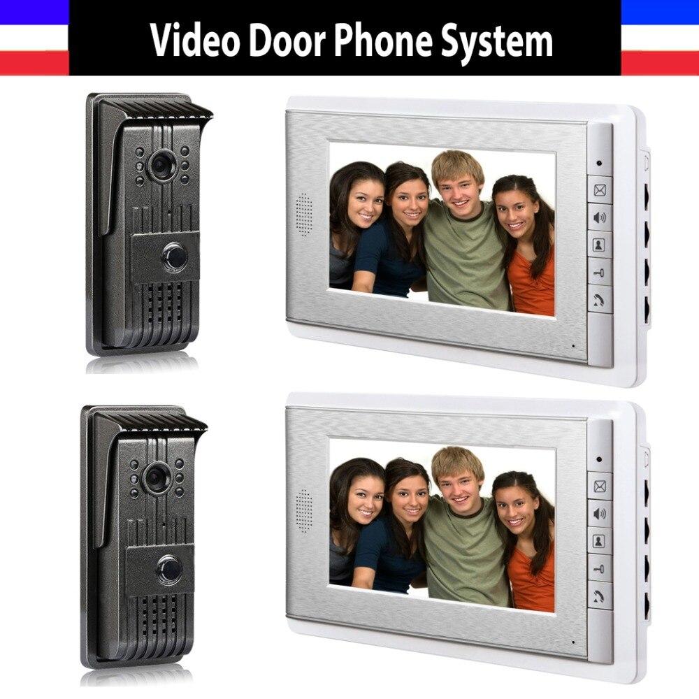 Video Door Phone Intercom Doorbell Doorphones Intercom 2 Monitor Video Intercom 2 Door Camera Doorbell Camera 7 Inch Color Lcd