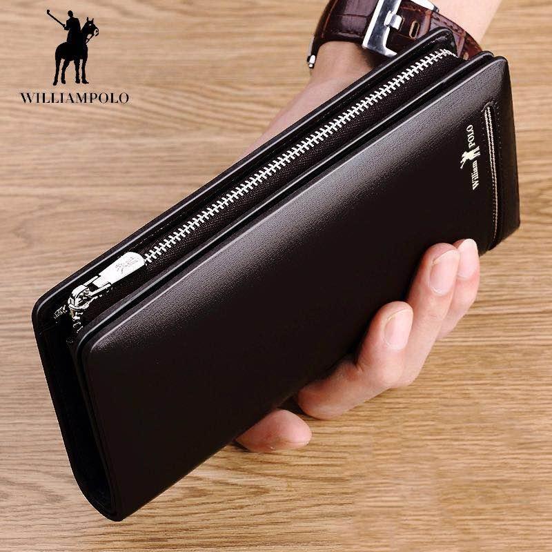 Brand Fashion Clutch Male Wallet Men Wallets Genuine Leather Wristlet Men