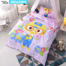 cartoon 100% cotton bed linens twin size for girl duck flower garden bedding set 3d comforter cover kid decor pink sheets single(China)
