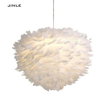 Swan wind droplight foyer bedroom dinning living room Modern feather pendant lights white fashion LED lamp free shipping JINLE