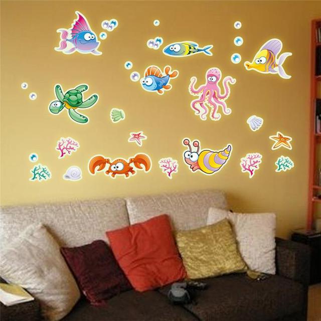 luminous wall stickers ocean series fluorescent diy wallpaper art