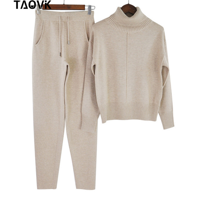 TAOVK Winter Woolen and Cashmere Knitted Warm Suit High Collar Sweater + Mink Cashmere Pants Loose Style Two-piece Set Knit 5