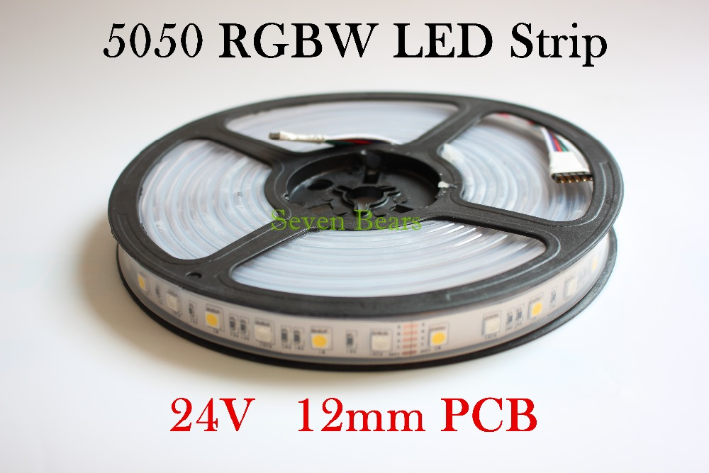 IP67 Waterproof led strip light 5050 DC24V RGBW SMD 12mm PCB 5M 60leds/m flexible tape rope light RGBWW RGB warm white