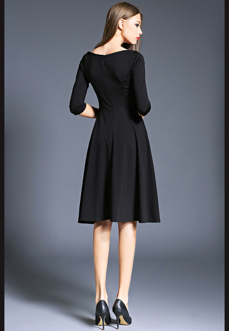 Hepburn Elegant Women Party Dresses Vestidos Mujer 2017 Kleider Damen Autumn Dashiki Little Black Dress Dames Jurken K8849 6