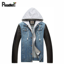 2017 New Male PU leather sleeves patchwork denim jacket coat Men's jeans hip hop casual hoody jacket Men baseball jackets