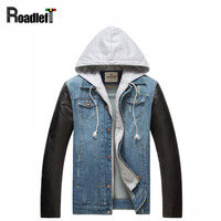 2015 New Male PU Leather Sleeves Patchwork Denim Jacket Coat Men S Jeans Hip Hop Casual