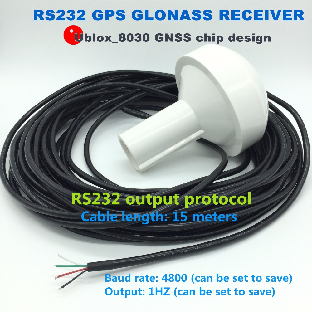 12V 15m cable, RS232 protocol, marine timing Industrial control applications 4800 baud rate GNSS GPS GLONASS dual mode receiver new 12v gps receiver rs232 rs 232 boat marine gps receiver antenna with module mushroom shaped case 4800 baud rate gn2000r