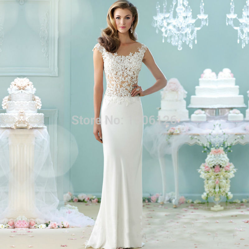 China Dress Shop White Cheap Wedding Dress Lace Chiffon Bridal Gown ...