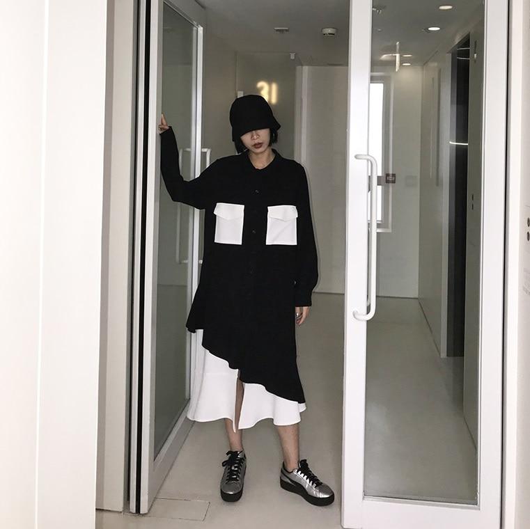 Mode long Robe Longues Patchwork Nouvelle 2018 À As Turn Vêtements Moyen down Femmes Manches Col T1805029 Pictures Printemps Asymétrique Arrivée XiPZuTkO