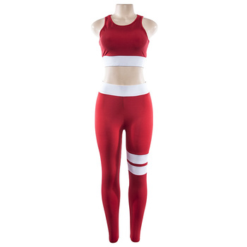 Women's Fitness Suits Cropped Tank Workout Bra Top And Legging Pants 2 Pieces Set Fashion Female Red Striped Sexy Tracksuit 5