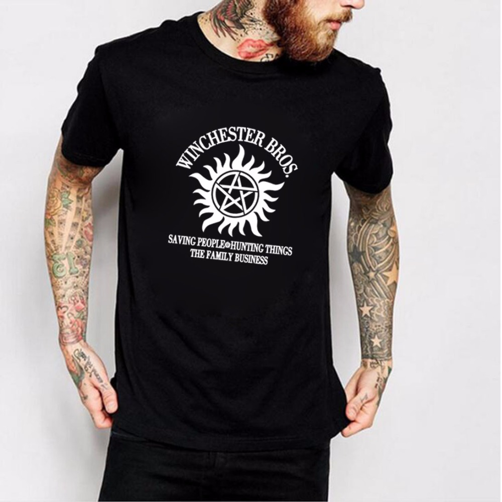 New arrival Men Summer short sleeve t shirt Supernatural Winchester Bros cotton funny brand tops male harajuku Camisetas 2017