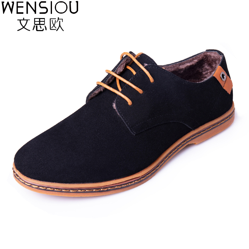 Winter Men Casual Shoes With Fur Male Comfortable Oxford Shoes Men Footwear Solid Color Lace-Up Shoes New Flat shoes ETT01