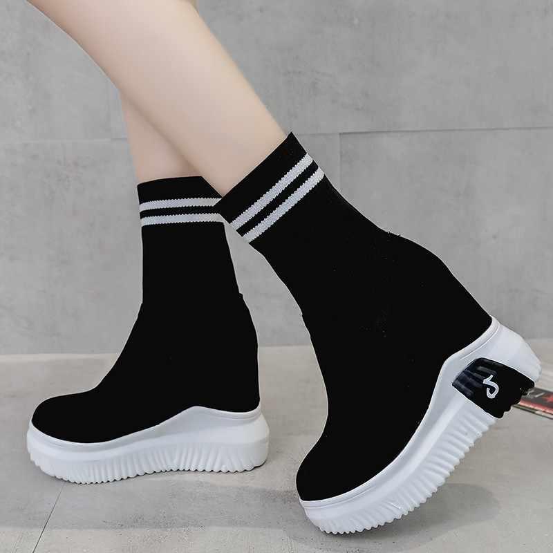 CANLı TAZELIK Kadın Ayakkabı Ayak Bileği Çorap Kadın Süper Yüksek Topuklu Kısa Elastik Çizmeler Sonbahar Ayakkabı Platformu Ayakkabı WY187