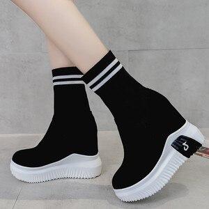 Image 2 - Vigor frescura mulher sapatos ankle sock botas mulheres super salto alto curto elásticos botas sapatos de outono tênis plataforma wy187