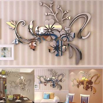 1set 3D Mirror Floral Art Removable Wall Sticker Silver 40x60 Acrylic Mural Decal easy to install TV setting wall DIY Decor F331